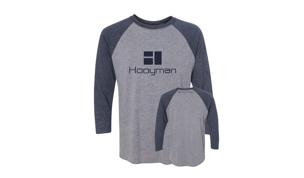 Hooyman Alt Raglan - XXL- Premium Heather / Vintage Navy